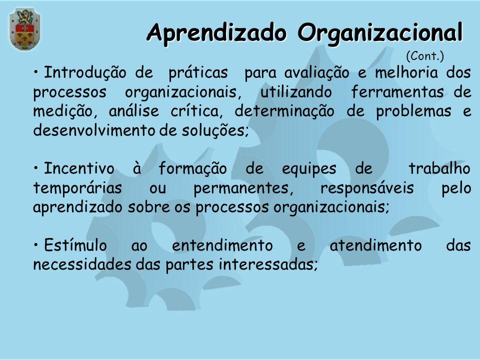 Aprendizado Organizacional A contínua melhoria dos enfoques existentes, bem como a busca de grandes melhorias e a introdução de inovações leva aos est