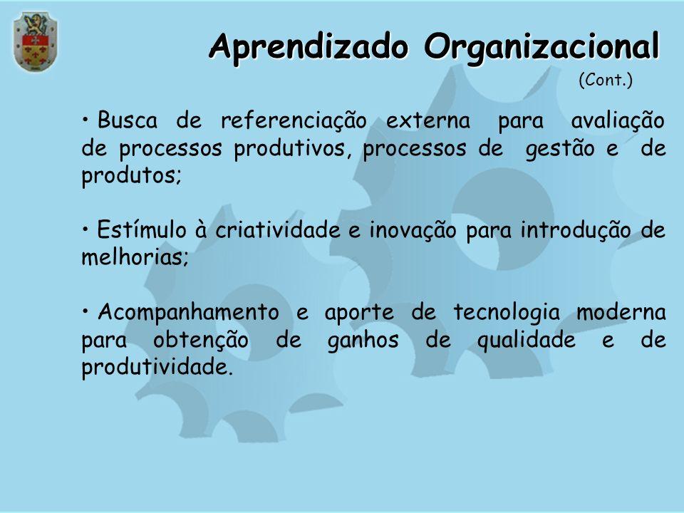 Aprendizado Organizacional Introdução de práticas para avaliação e melhoria dos processos organizacionais, utilizando ferramentas de medição, análise