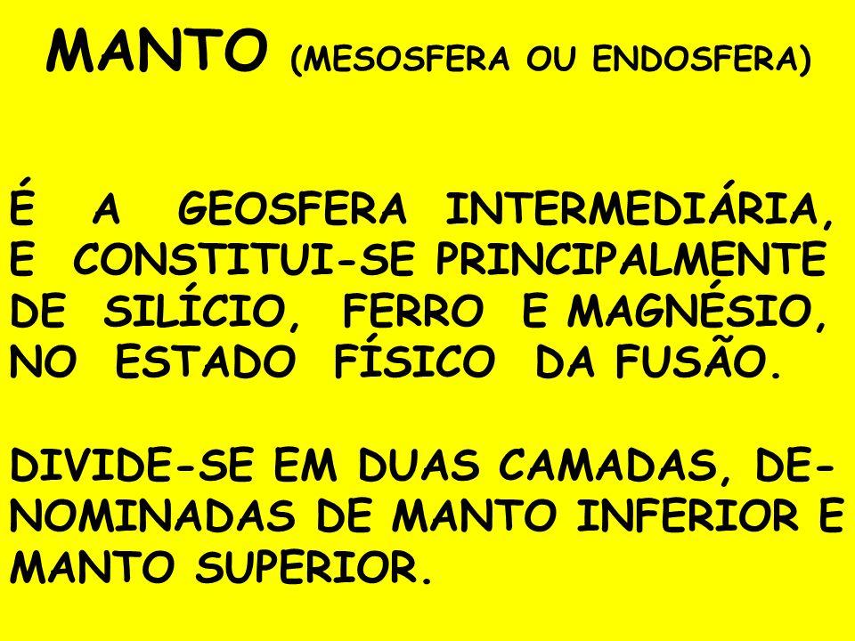 MANTO (MESOSFERA OU ENDOSFERA) É A GEOSFERA INTERMEDIÁRIA, E CONSTITUI-SE PRINCIPALMENTE DE SILÍCIO, FERRO E MAGNÉSIO, NO ESTADO FÍSICO DA FUSÃO. DIVI