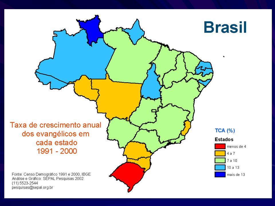 Brasil Crescimento dos Evangélicos entre 1980 e 2000 Fonte: IBGE, Censos Demográficos de 1980, 1991 e 2000 Eunice Zillner Sepal 2006 – pesquisas@sepal