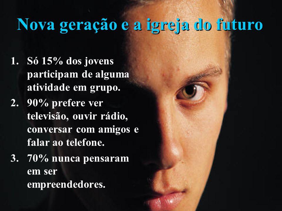 Nova geração e a igreja do futuro 1. Superficialidade espiritual. 2. Geração do show. 3. Busca constante do novo. 4. Não à estrutura. 5. Decepção com