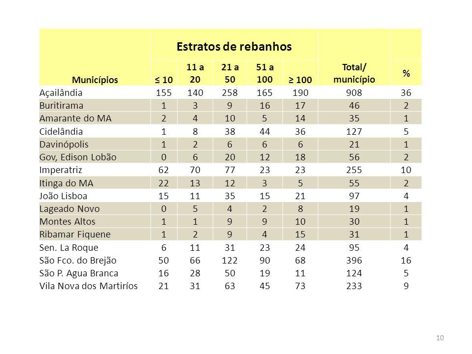 Municípios Estratos de rebanhos Total/ município 10 11 a 20 21 a 50 51 a 100 100 % Açailândia15514025816519090836 Buritirama1391617462 Amarante do MA2