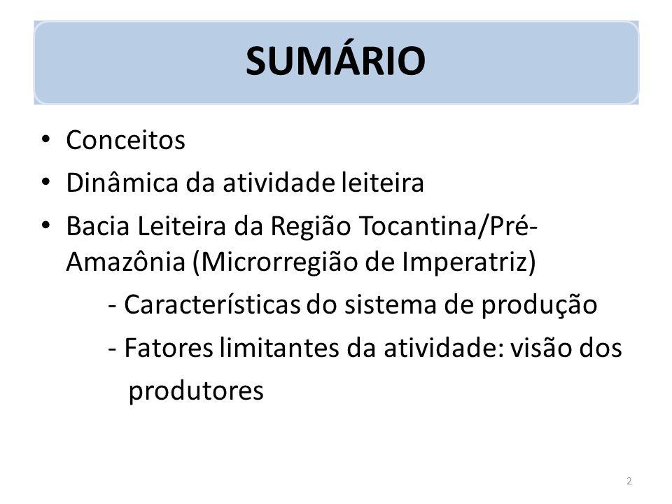 SUMÁRIO Conceitos Dinâmica da atividade leiteira Bacia Leiteira da Região Tocantina/Pré- Amazônia (Microrregião de Imperatriz) - Características do si