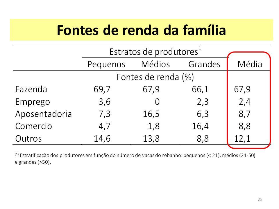 Fontes de renda da família (1) Estratificação dos produtores em função do número de vacas do rebanho: pequenos ( 50). 25