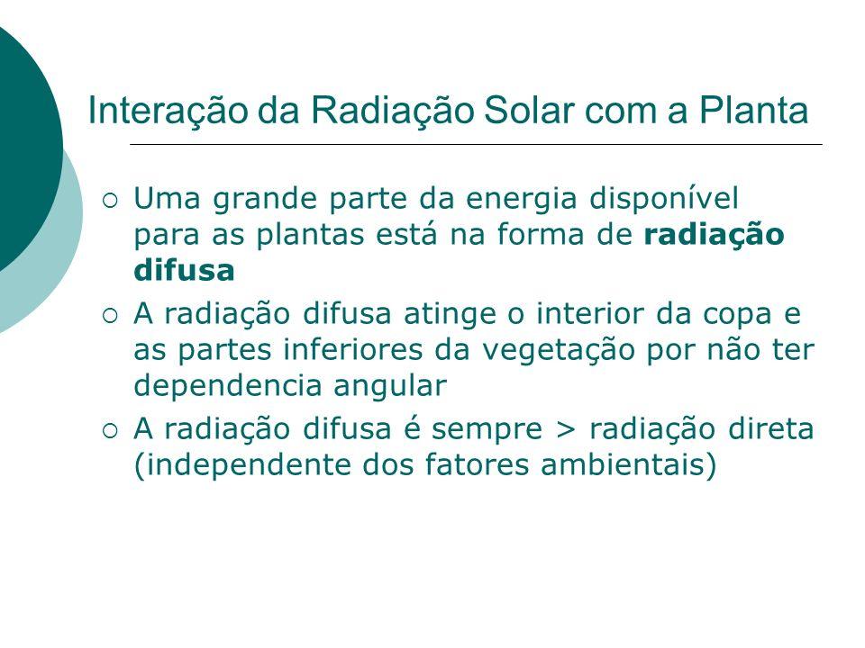 Interação da Radiação Solar com a Planta Uma grande parte da energia disponível para as plantas está na forma de radiação difusa A radiação difusa ati