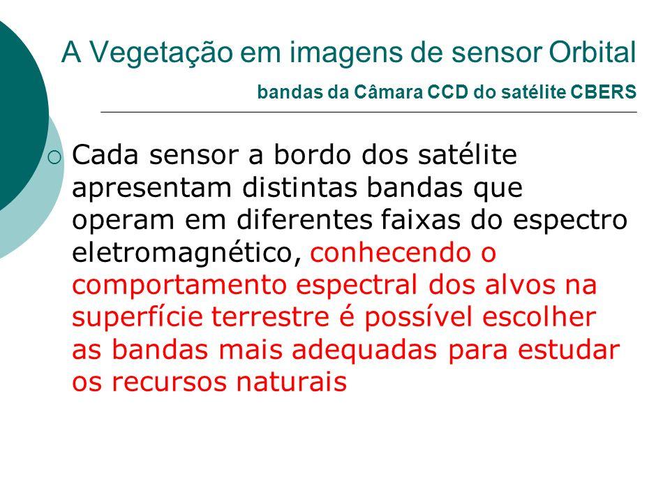 A Vegetação em imagens de sensor Orbital bandas da Câmara CCD do satélite CBERS Cada sensor a bordo dos satélite apresentam distintas bandas que opera