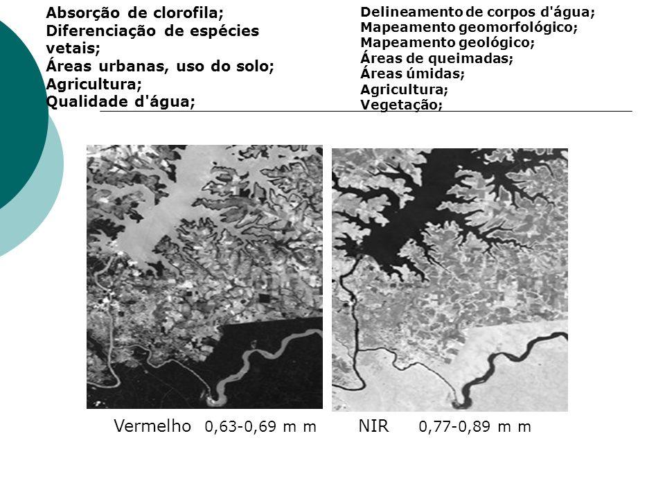 Vermelho 0,63-0,69 m m NIR 0,77-0,89 m m Absorção de clorofila; Diferenciação de espécies vetais; Áreas urbanas, uso do solo; Agricultura; Qualidade d