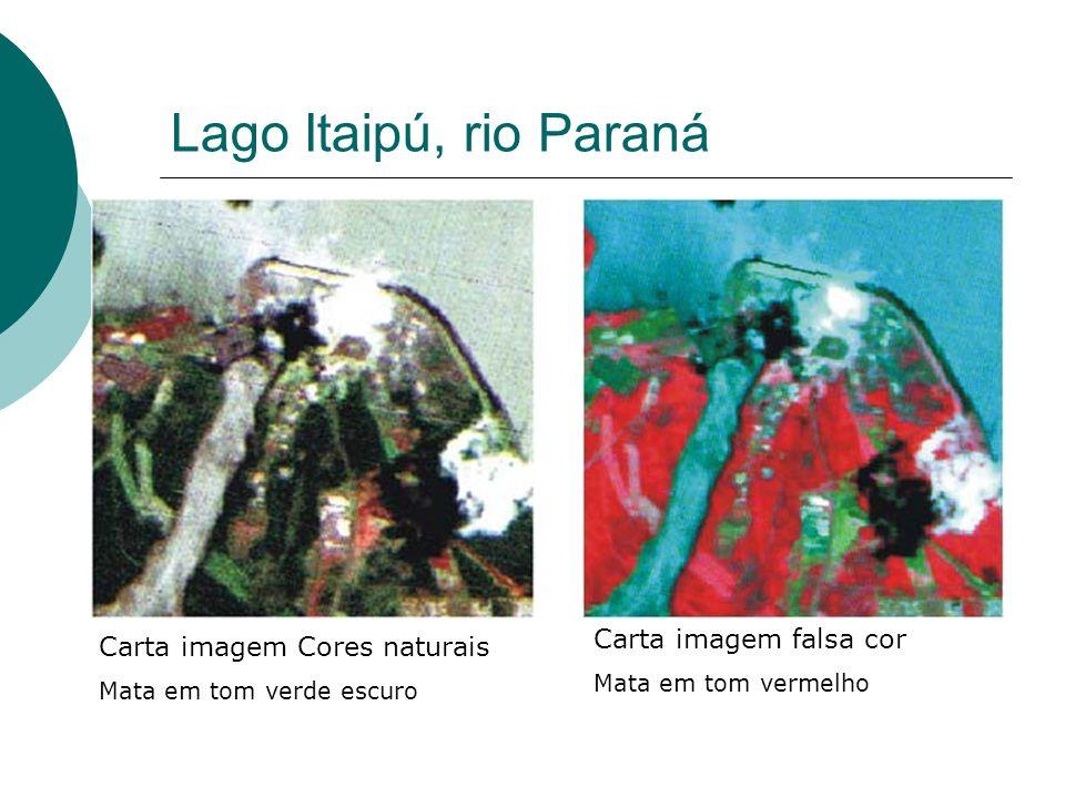 Lago Itaipú, rio Paraná Carta imagem Cores naturais Mata em tom verde escuro Carta imagem falsa cor Mata em tom vermelho