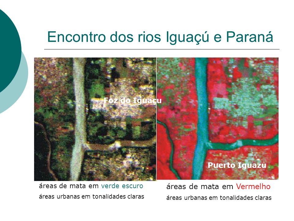 Encontro dos rios Iguaçú e Paraná áreas de mata em verde escuro áreas urbanas em tonalidades claras áreas de mata em Vermelho áreas urbanas em tonalid
