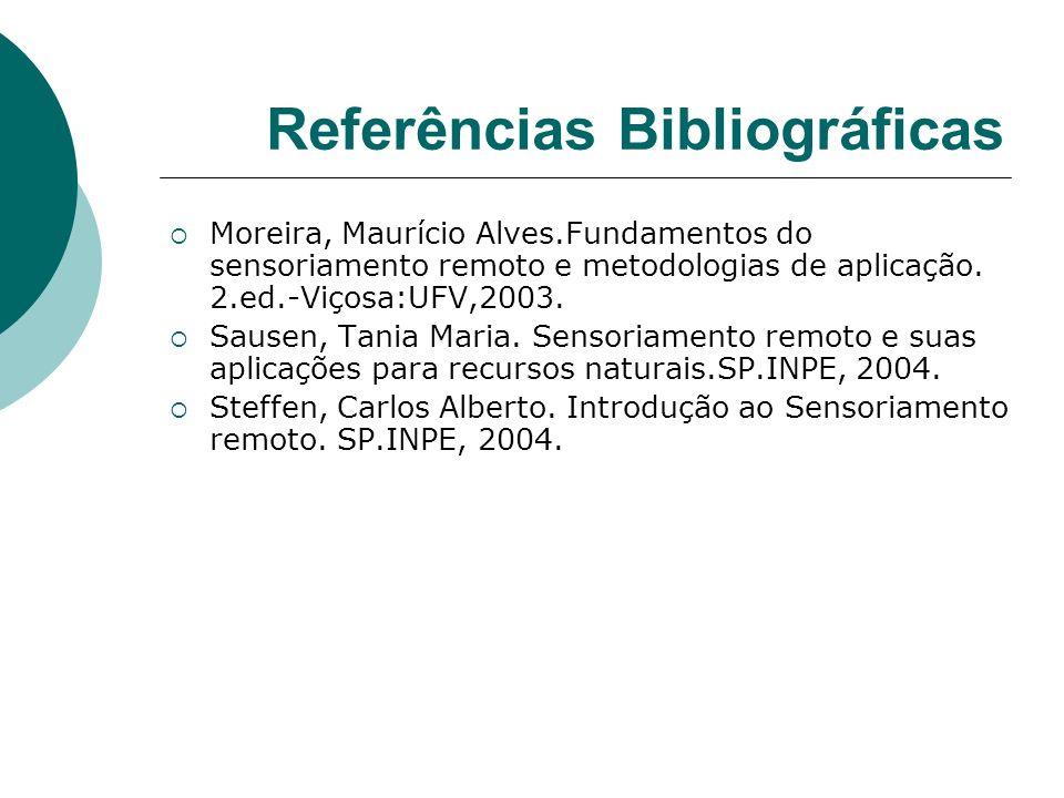 Referências Bibliográficas Moreira, Maurício Alves.Fundamentos do sensoriamento remoto e metodologias de aplicação. 2.ed.-Viçosa:UFV,2003. Sausen, Tan