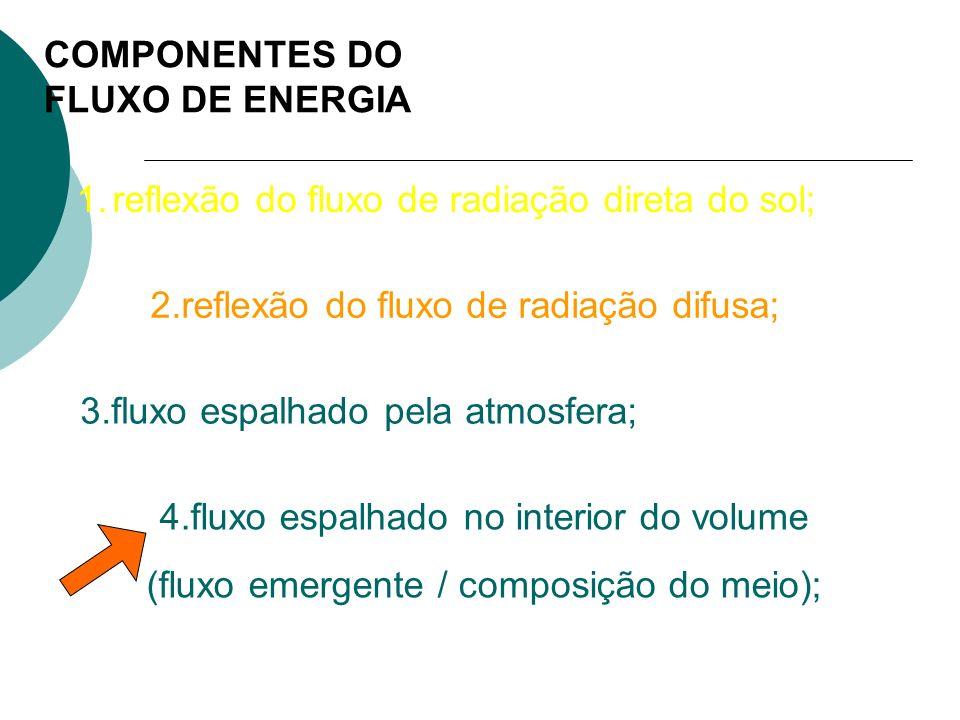 COMPONENTES DO FLUXO DE ENERGIA 1.reflexão do fluxo de radiação direta do sol; 2.reflexão do fluxo de radiação difusa; 3.fluxo espalhado pela atmosfer