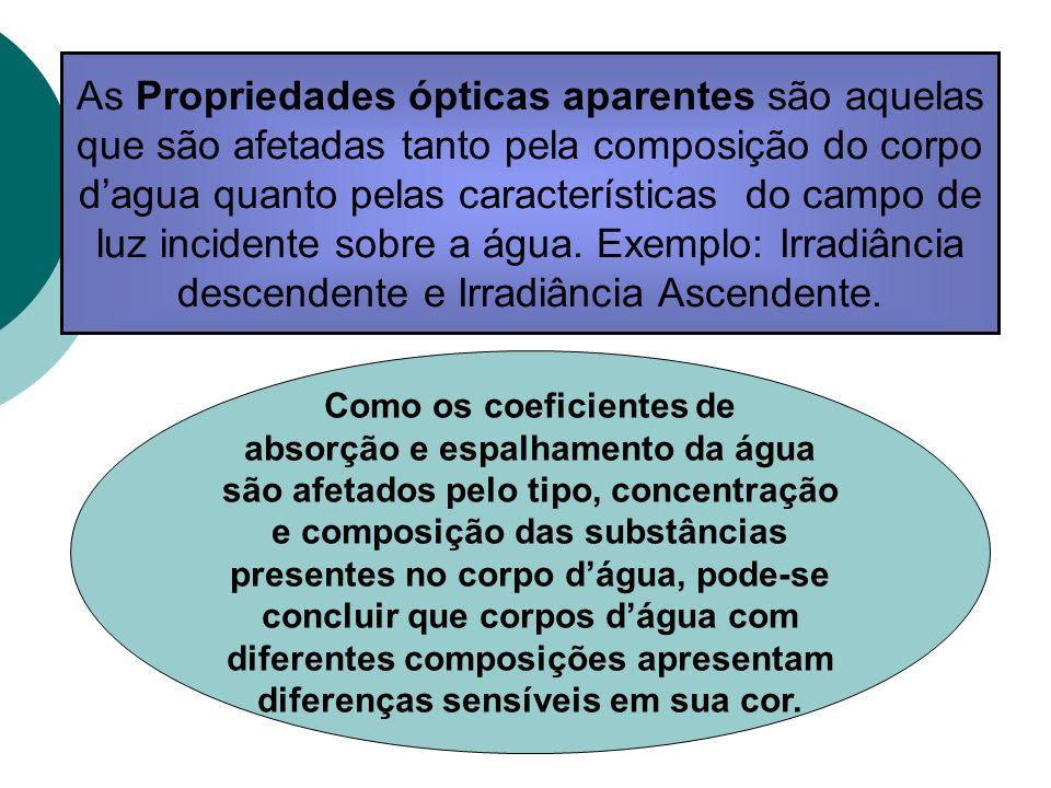As Propriedades ópticas aparentes são aquelas que são afetadas tanto pela composição do corpo dagua quanto pelas características do campo de luz incid