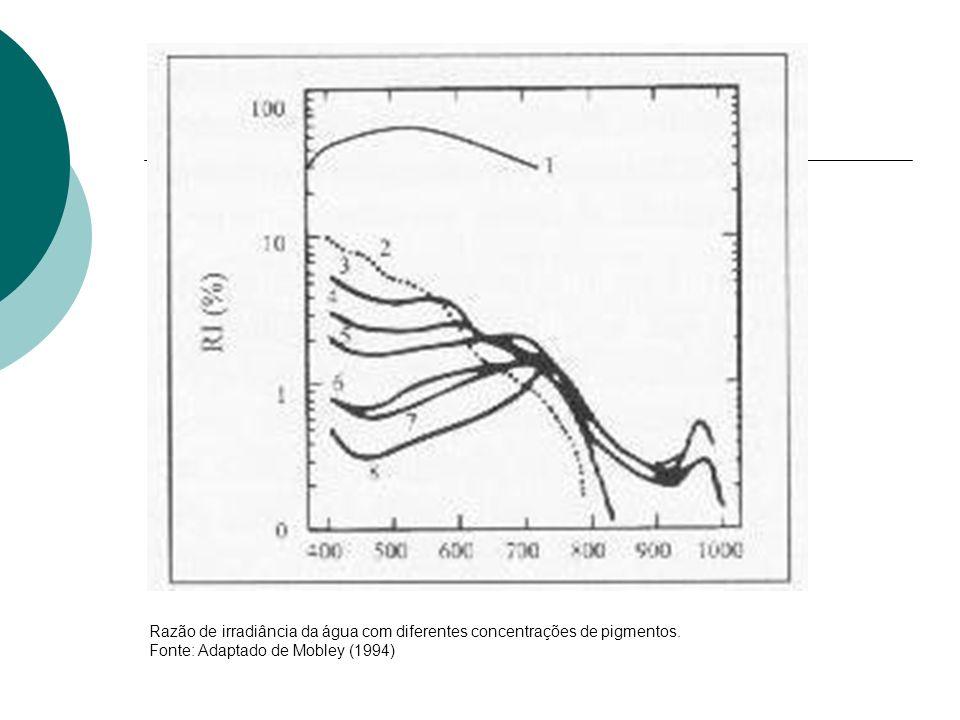 Razão de irradiância da água com diferentes concentrações de pigmentos. Fonte: Adaptado de Mobley (1994)