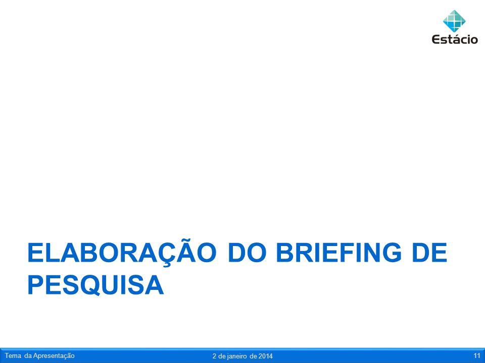 ELABORAÇÃO DO BRIEFING DE PESQUISA 2 de janeiro de 2014 Tema da Apresentação11