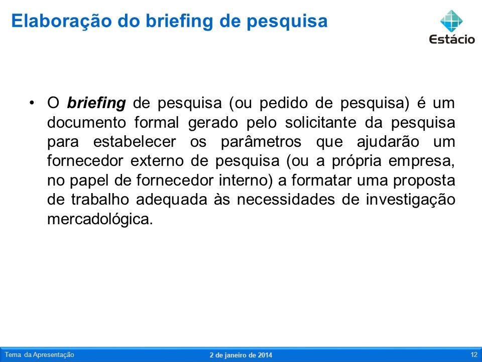 O briefing de pesquisa (ou pedido de pesquisa) é um documento formal gerado pelo solicitante da pesquisa para estabelecer os parâmetros que ajudarão u