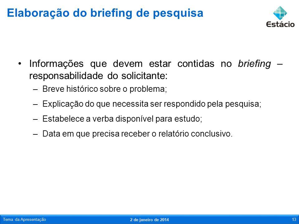 Informações que devem estar contidas no briefing – responsabilidade do solicitante: –Breve histórico sobre o problema; –Explicação do que necessita se