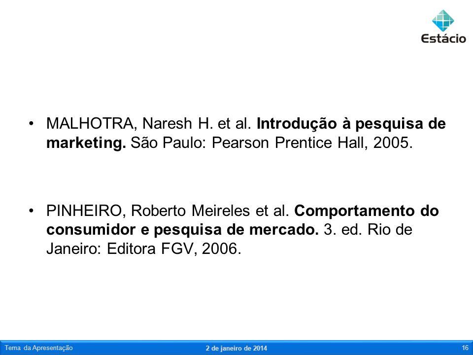 MALHOTRA, Naresh H. et al. Introdução à pesquisa de marketing. São Paulo: Pearson Prentice Hall, 2005. PINHEIRO, Roberto Meireles et al. Comportamento