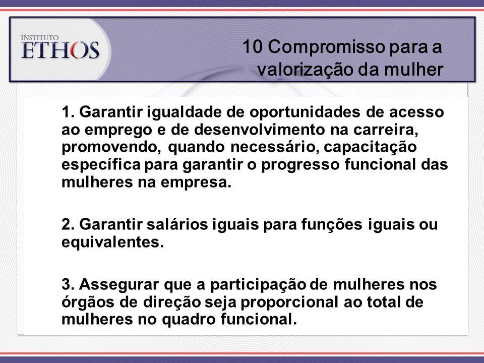 1. Garantir igualdade de oportunidades de acesso ao emprego e de desenvolvimento na carreira, promovendo, quando necessário, capacitação específica pa