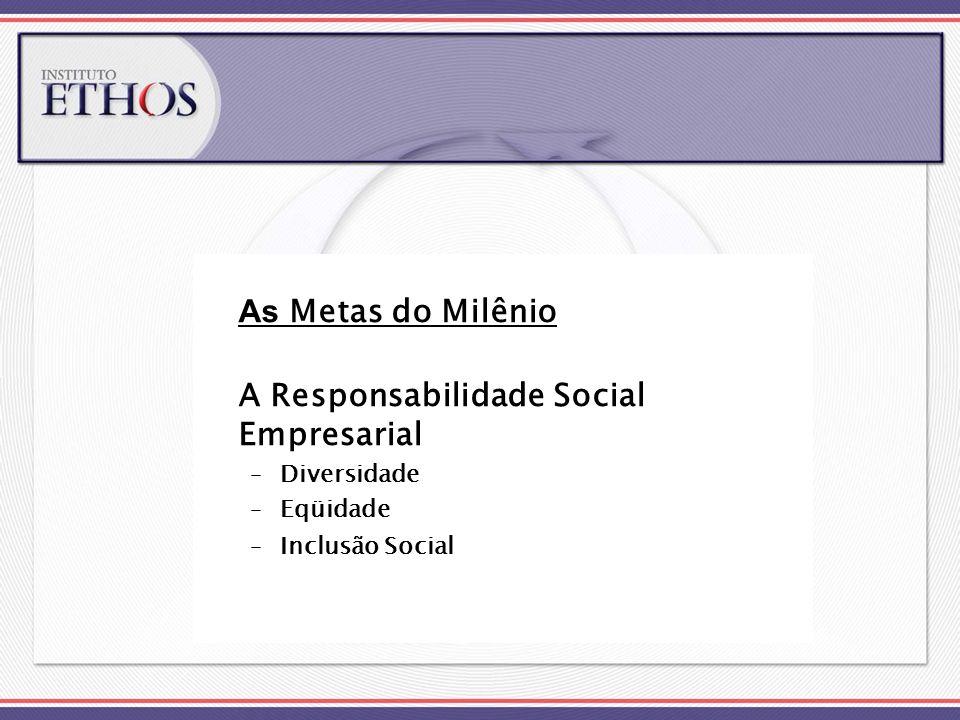 As Metas do Milênio A Responsabilidade Social Empresarial –Diversidade –Eqüidade –Inclusão Social