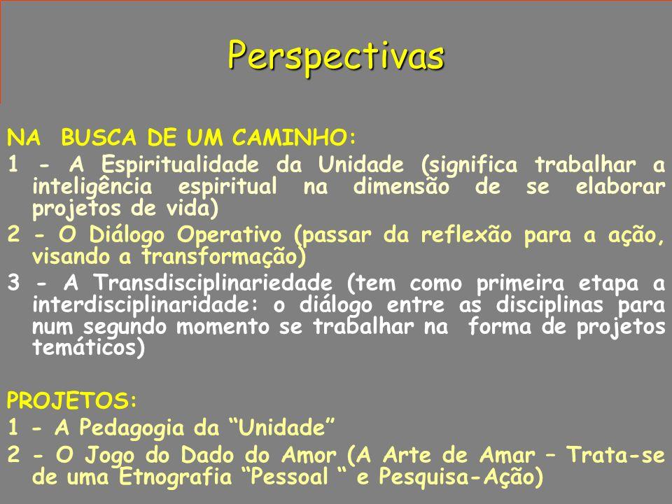 Perspectivas NA BUSCA DE UM CAMINHO: 1 - A Espiritualidade da Unidade (significa trabalhar a inteligência espiritual na dimensão de se elaborar projet
