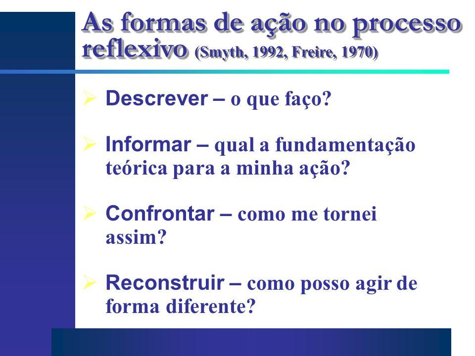 As formas de ação no processo reflexivo As formas de ação no processo reflexivo (Smyth, 1992, Freire, 1970) Descrever – o que faço? Informar – qual a