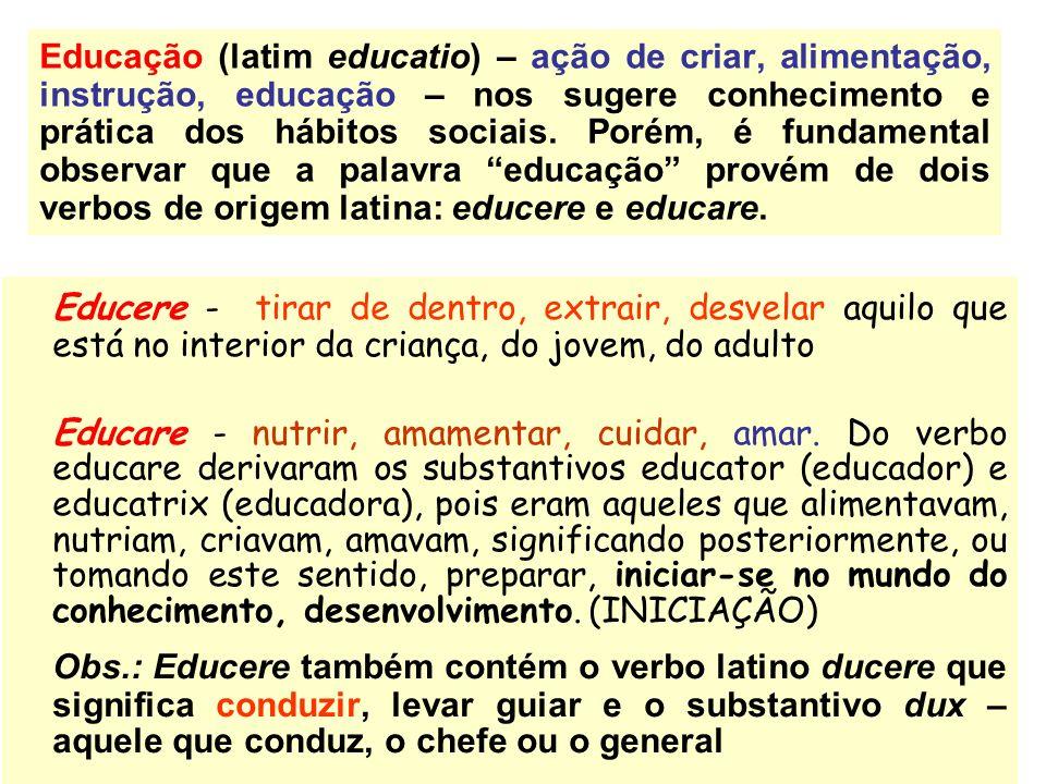 Educação (latim educatio) – ação de criar, alimentação, instrução, educação – nos sugere conhecimento e prática dos hábitos sociais. Porém, é fundamen