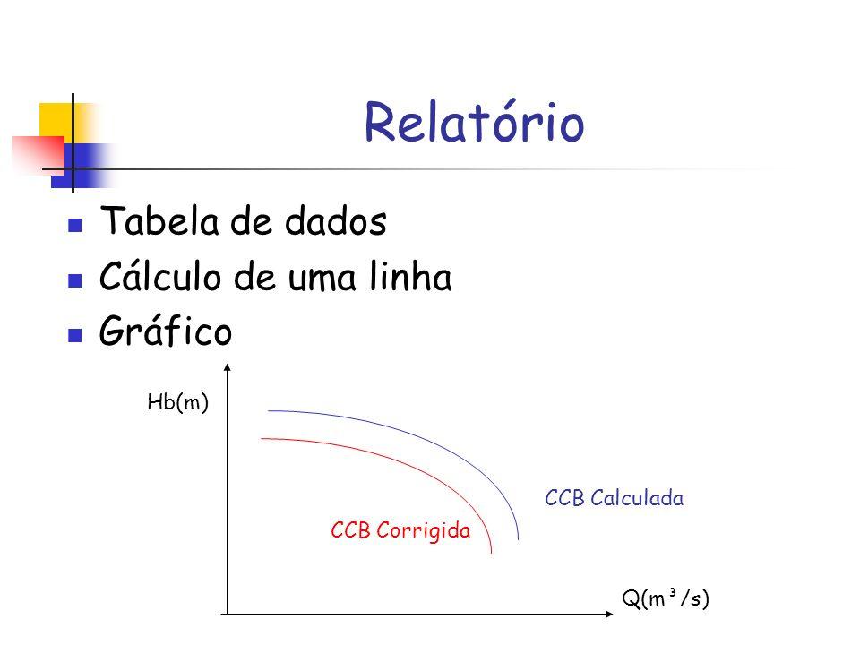 Relatório Tabela de dados Cálculo de uma linha Gráfico Hb(m) Q(m³/s) CCB Calculada CCB Corrigida