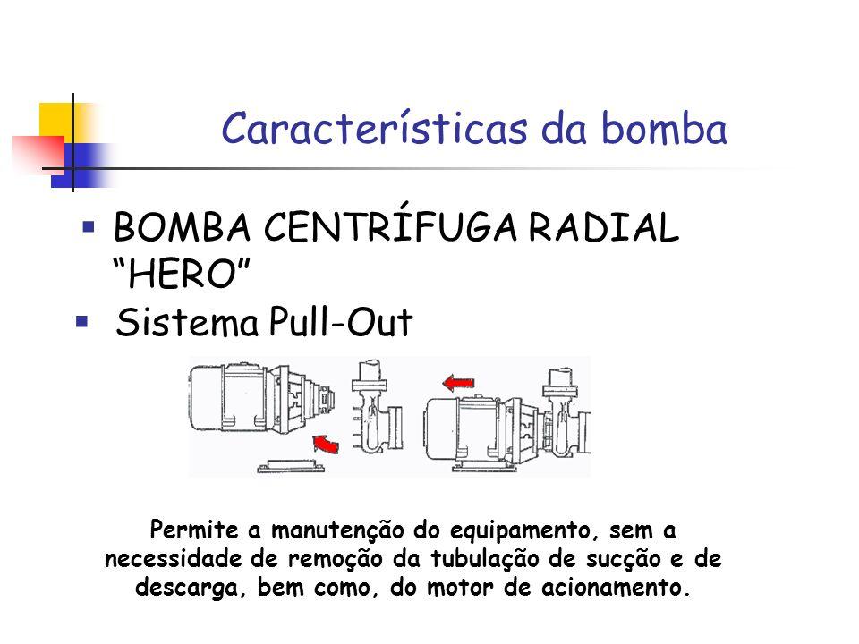 Características da bomba BOMBA CENTRÍFUGA RADIAL HERO Permite a manutenção do equipamento, sem a necessidade de remoção da tubulação de sucção e de de