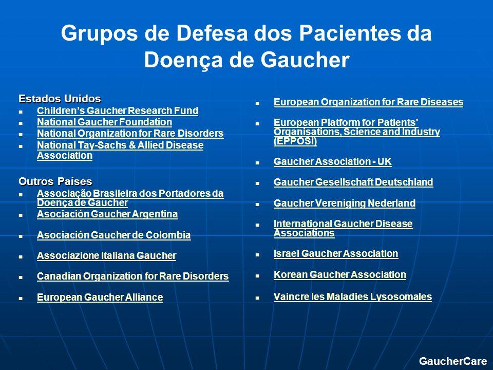 Grupos de Defesa dos Pacientes da Doença de Gaucher Estados Unidos Childrens Gaucher Research Fund National Gaucher Foundation National Organization f