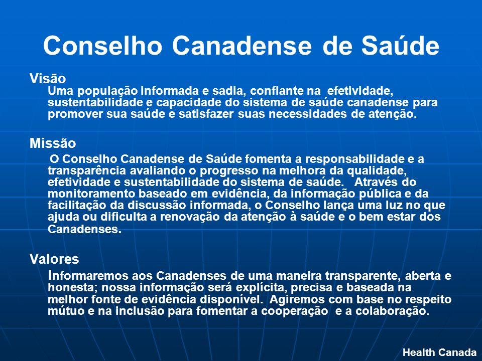 Conselho Canadense de Saúde Visão Uma população informada e sadia, confiante na efetividade, sustentabilidade e capacidade do sistema de saúde canaden