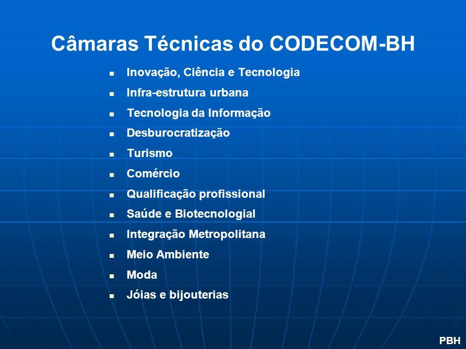 Câmaras Técnicas do CODECOM-BH Inovação, Ciência e Tecnologia Infra-estrutura urbana Tecnologia da Informação Desburocratização Turismo Comércio Quali