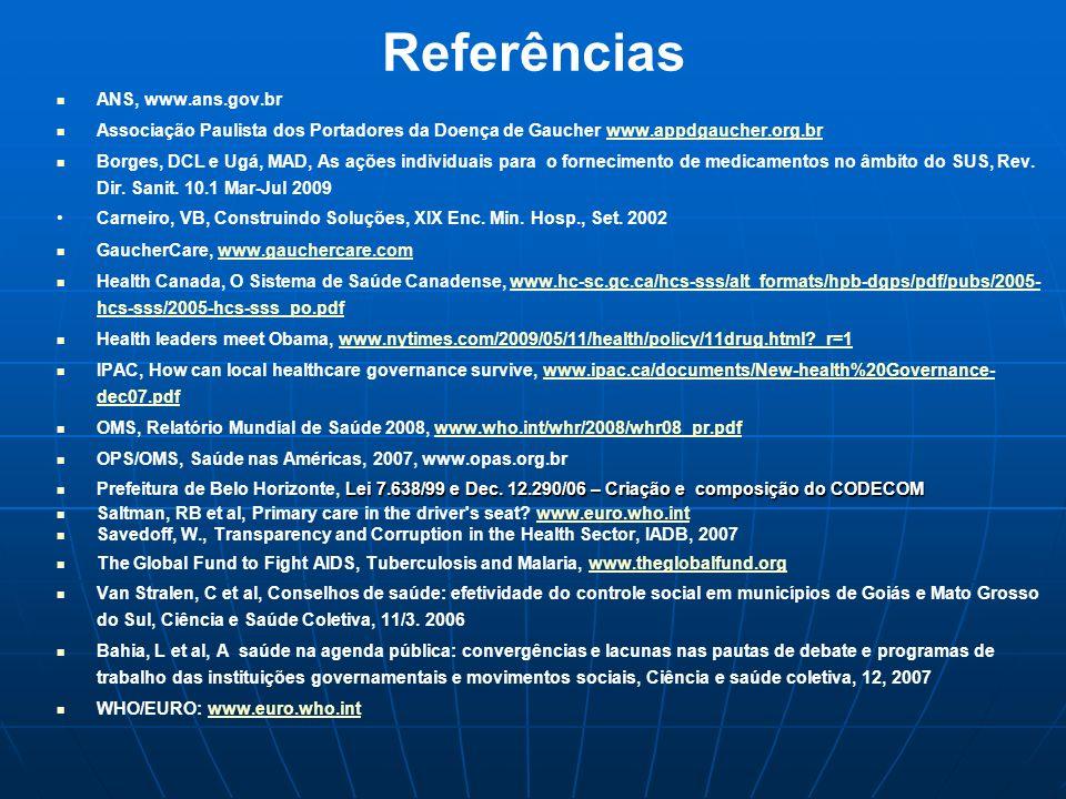 Referências ANS, www.ans.gov.br Associação Paulista dos Portadores da Doença de Gaucher www.appdgaucher.org.brwww.appdgaucher.org.br Borges, DCL e Ugá