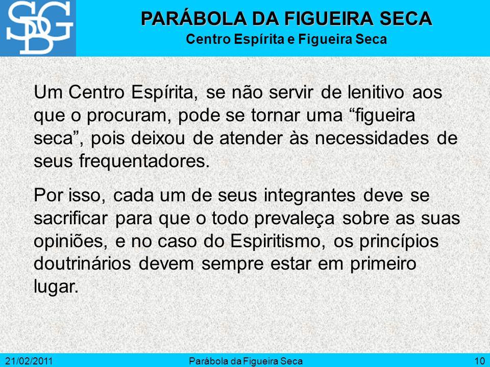 21/02/2011Parábola da Figueira Seca10 Um Centro Espírita, se não servir de lenitivo aos que o procuram, pode se tornar uma figueira seca, pois deixou