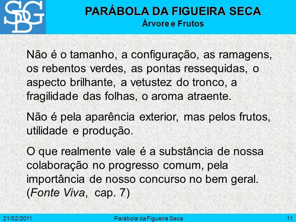 21/02/2011Parábola da Figueira Seca11 Não é o tamanho, a configuração, as ramagens, os rebentos verdes, as pontas ressequidas, o aspecto brilhante, a