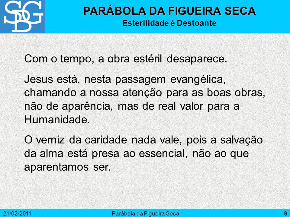 21/02/2011Parábola da Figueira Seca9 PARÁBOLA DA FIGUEIRA SECA Esterilidade é Destoante Com o tempo, a obra estéril desaparece. Jesus está, nesta pass