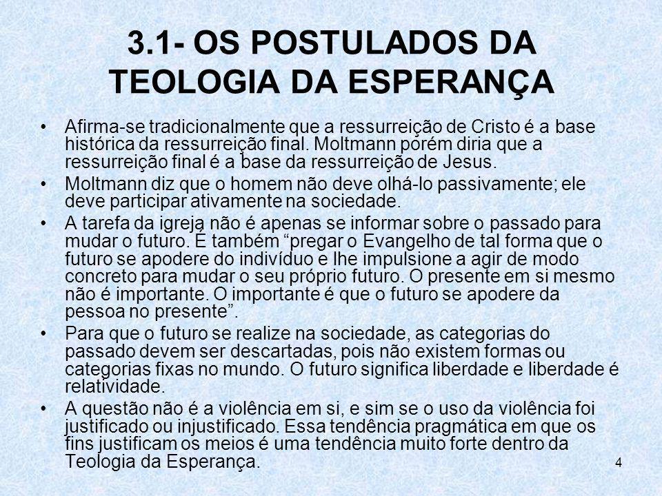 4 3.1- OS POSTULADOS DA TEOLOGIA DA ESPERANÇA Afirma-se tradicionalmente que a ressurreição de Cristo é a base histórica da ressurreição final. Moltma