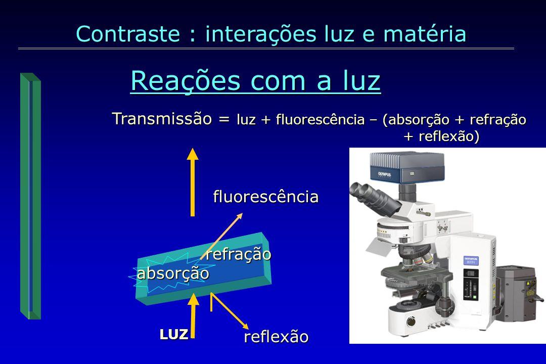 Reações com a luz Espectro de luz visível (quanto maior o, menor a energia) Espectro de luz visível (quanto maior o, menor a energia) Contraste : interações luz e matéria