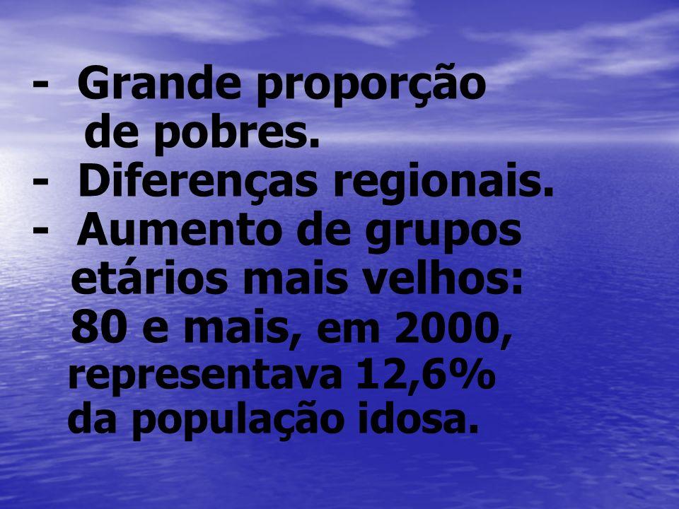 - Grande proporção de pobres. - Diferenças regionais. - Aumento de grupos etários mais velhos: 80 e mais, em 2000, representava 12,6% da população ido