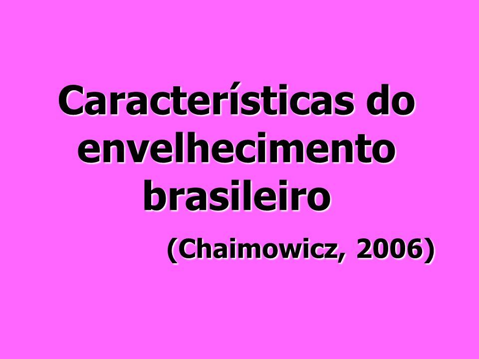 Características do envelhecimento brasileiro (Chaimowicz, 2006)
