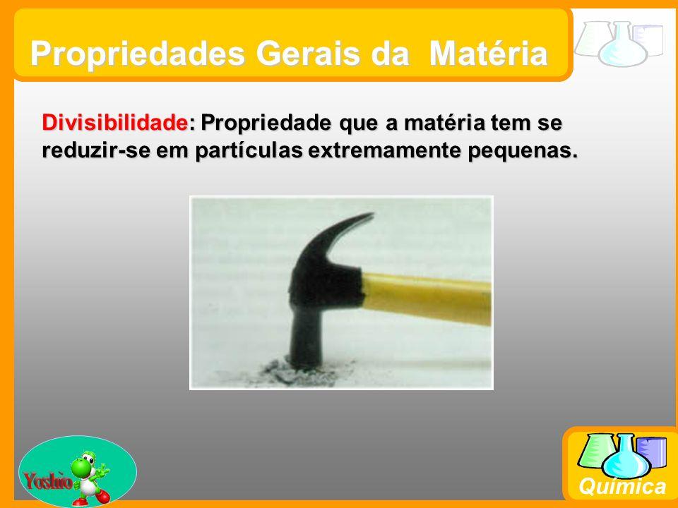 Prof. Busato Química Propriedades Gerais da Matéria Divisibilidade: Propriedade que a matéria tem se reduzir-se em partículas extremamente pequenas.