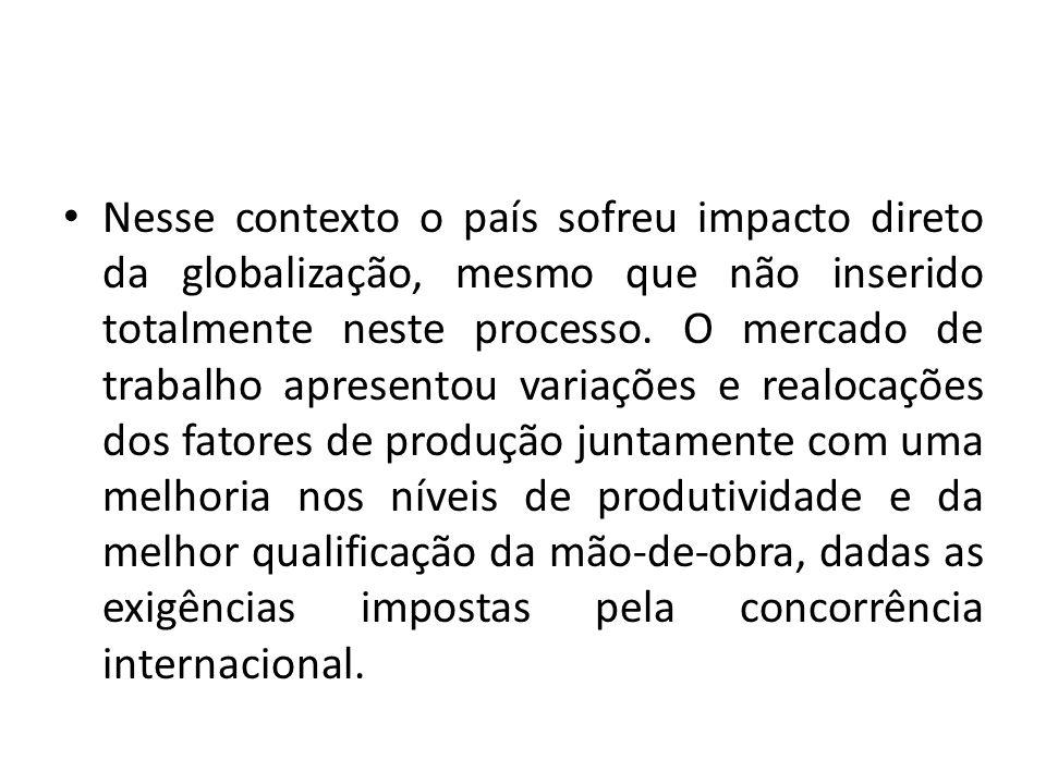 Nesse contexto o país sofreu impacto direto da globalização, mesmo que não inserido totalmente neste processo. O mercado de trabalho apresentou variaç
