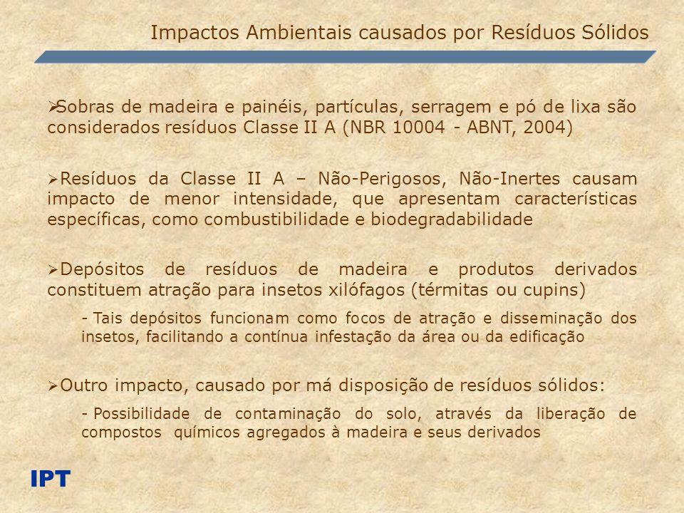 Impactos Ambientais causados por Resíduos Sólidos IPT Sobras de madeira e painéis, partículas, serragem e pó de lixa são considerados resíduos Classe