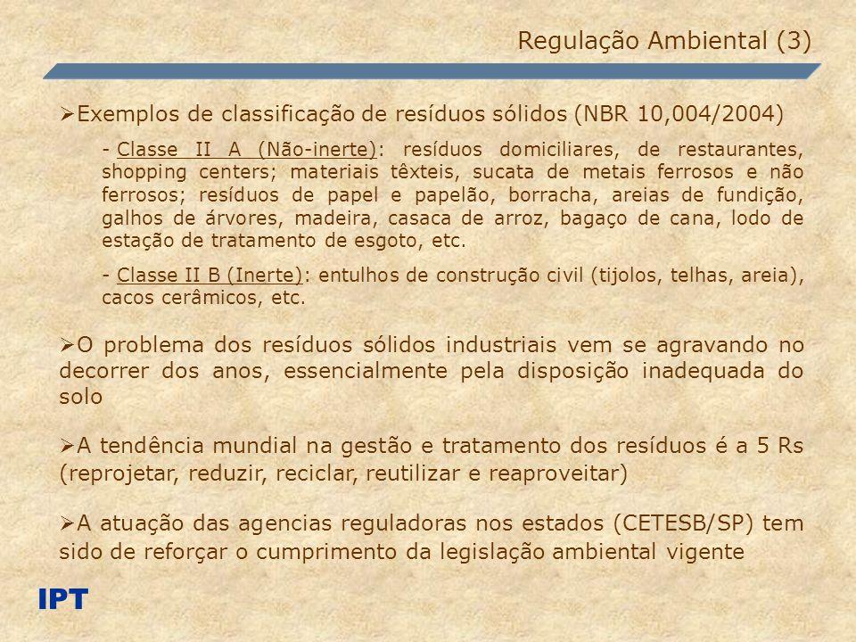 IPT Regulação Ambiental (3) Exemplos de classificação de resíduos sólidos (NBR 10,004/2004) - Classe II A (Não-inerte): resíduos domiciliares, de rest