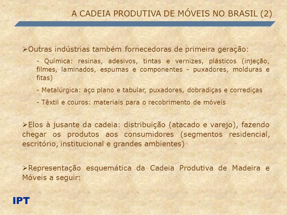 IPT A CADEIA PRODUTIVA DE MÓVEIS NO BRASIL (2) Outras indústrias também fornecedoras de primeira geração: - Química: resinas, adesivos, tintas e verni