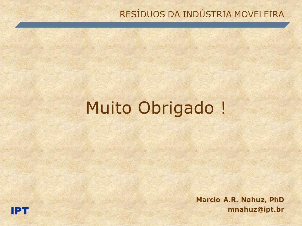 Muito Obrigado ! Marcio A.R. Nahuz, PhD mnahuz@ipt.br IPT RESÍDUOS DA INDÚSTRIA MOVELEIRA