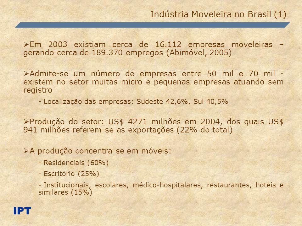 Alguns pólos ganharam importância; outros estão surgindo no cenário nacional Principais pólos moveleiros no Brasil: - Bento Gonçalves (RS), São Bento do Sul (SC), Arapongas (PR), Mirassol e Votuporanga (SP), Ubá (MG) e Linhares/Colatina (ES) Mais de 81% das empresas estão localizadas na região Sudeste (SP, MG, RJ) e na região Sul (RS, SC e PR) Empresas moveleiras fabricam (RAIS): - Móveis predominantemente de madeira (85%) - Móveis com predominância em metal (7%) - Colchões (2%) - Móveis de outros materiais (6%) IPT Indústria Moveleira no Brasil (2)