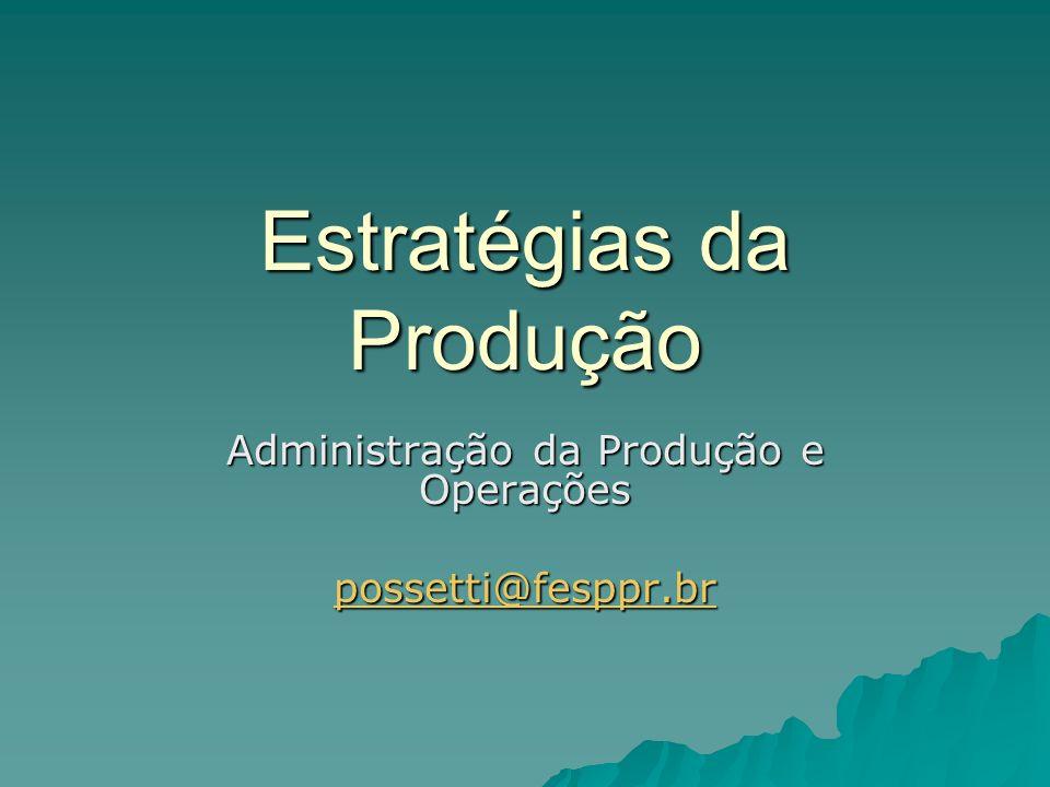 Estratégias da Produção Administração da Produção e Operações possetti@fesppr.br