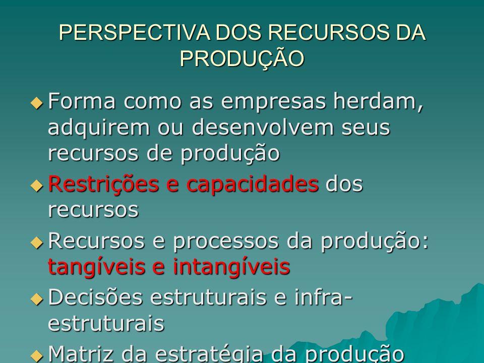 PERSPECTIVA DOS RECURSOS DA PRODUÇÃO Forma como as empresas herdam, adquirem ou desenvolvem seus recursos de produção Forma como as empresas herdam, a
