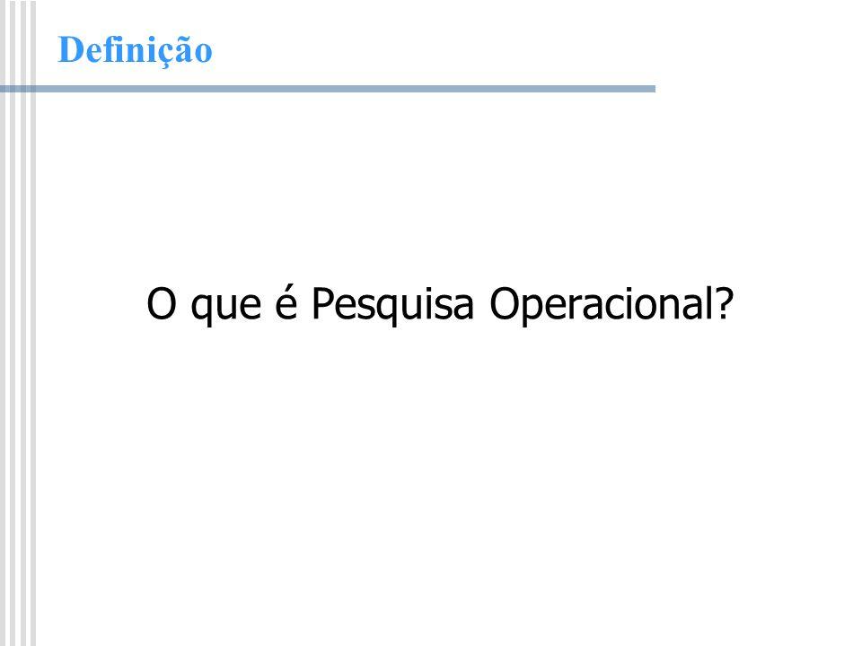 Definição Pesquisa Operacional é um método científico que provê executivos com uma base quantitativa para decisões concernentes às operações sob seu controle.