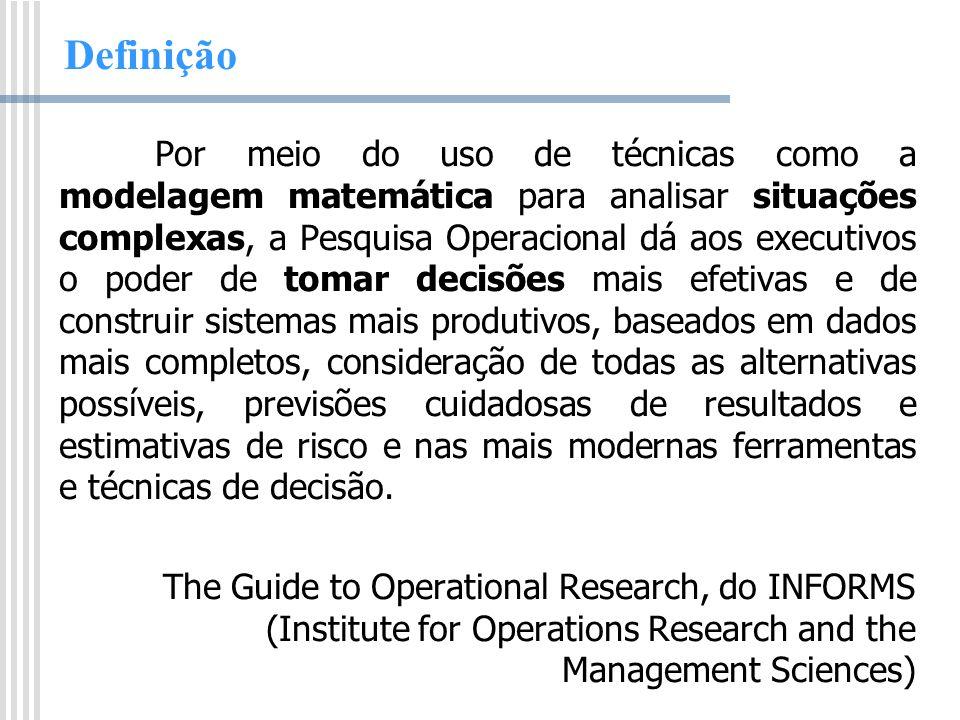 Definição Por meio do uso de técnicas como a modelagem matemática para analisar situações complexas, a Pesquisa Operacional dá aos executivos o poder
